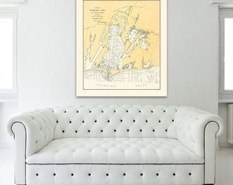 Print of Antique Nautical Map of Waquoit Bay in Falmouth on Photo Paper, Matte Paper, or Stretched Canvas