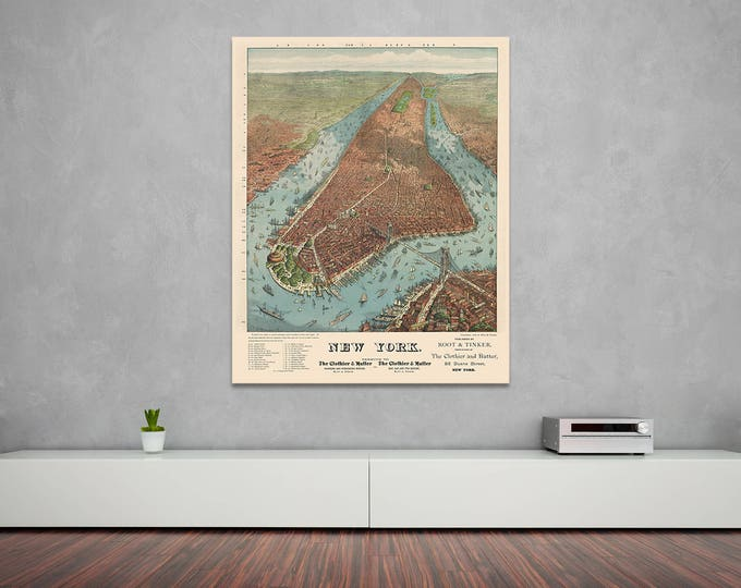 Print of Antique Map of New York City View on Photo Paper Matte Paper or Stretched Canvas