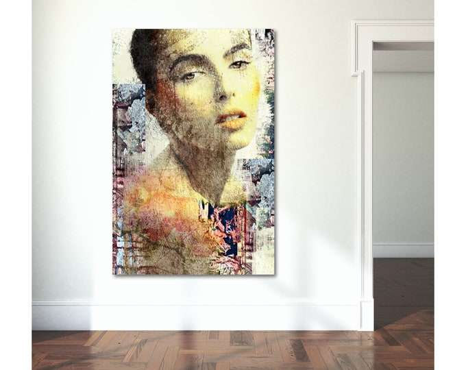 Original Print of Pop Art Collage Featuring Beautiful Female Figure. Printed on Canvas, Photo Paper, or Matte Paper in Many Sizes.