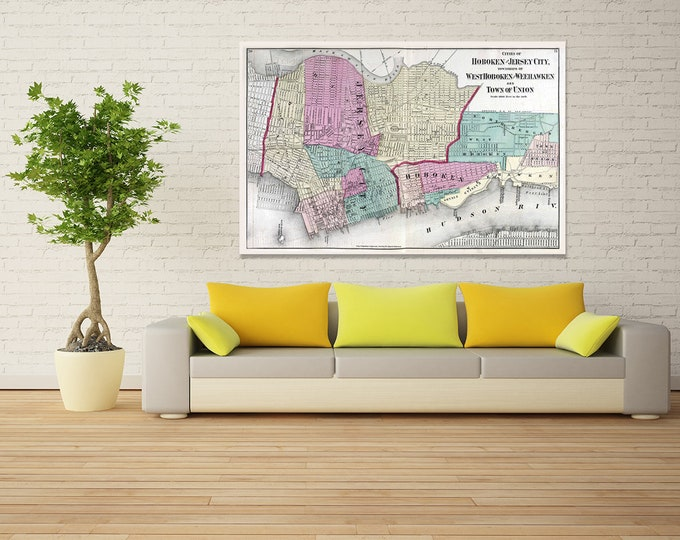 Print of Antique Map of Hoboken, Jersey City, West Hoboken, Weehawken and the Town of Union on Photo Paper, Matte Paper and Stretched Canvas