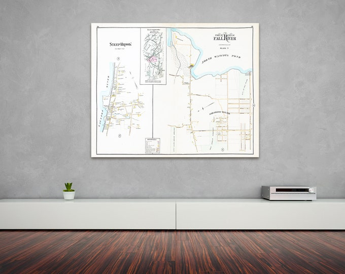 Print of Antique Map Featuring Part of Fall River Plate 7, Massachusetts, Bristol County on Photo Paper, Matte Paper or Stretched Canvas