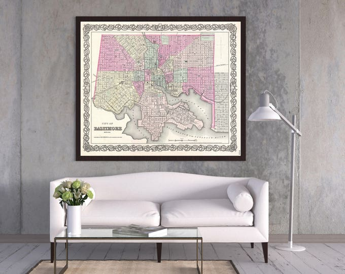 Print of Antique Map of Baltimore, Maryland on Photo Paper Matte Paper or Stretched Canvas