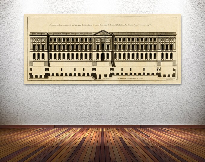 Elegant Print of Vintage Style Elevation Plan of Louvre Palace in Paris, France.