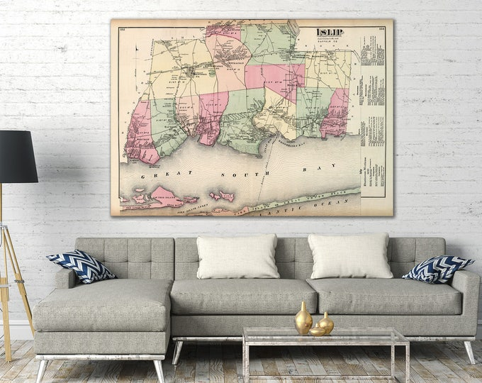 Print of Antique Map of Islip, Long Island, New York on Photo Paper, Matte Paper or Stretched Canvas