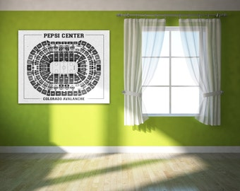 Vintage Colorado Avalanche Center Pepsi Center on Photo Paper, Matte paper or Canvas Sports Stadium Tickets Art Home Decor Line Drawing