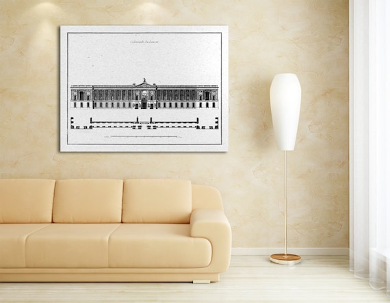 Antique Print of Claude Perrault's Colonnade of the Palace of Louvre in Paris, France. Palais du Louvre La Colonnade de Perrault.