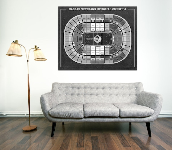 Print of Vintage Nassau Veterans Memorial Coliseum Seating Chart on Your Choice of Photo Paper, Matte Paper, or Stretched Canvas