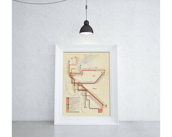 Vintage Print of New York Subway Routes Map on Photo Paper Matte Paper and Canvas. Free Shipping!