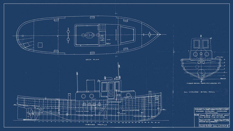 Vintage print of oil screw tug st boss diagram line drawing 1 malvernweather Choice Image