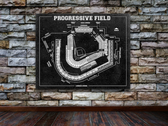 Print of Vintage Progressive Field Seating Chart Seating Chart on Photo Paper, Matte paper or Canvas