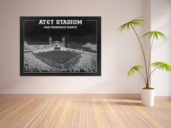Print of Vintage AT&T Park Line Drawing on Photo Paper, Matte paper or Canvas