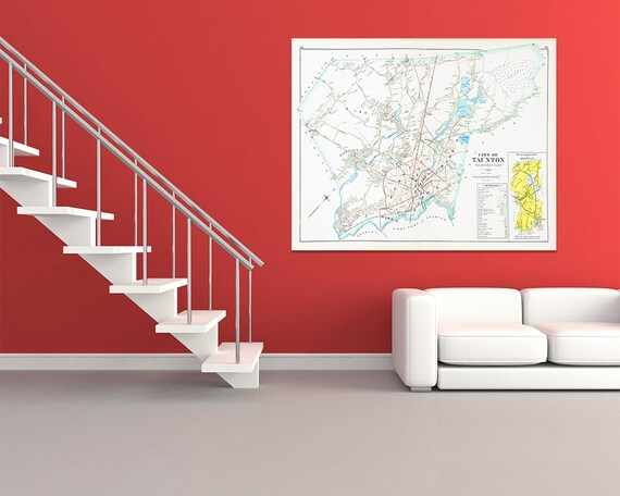 Print of Antique Map of Taunton Massachusetts Westerly Part on Photo Paper, Matte Paper and Stretched Canvas