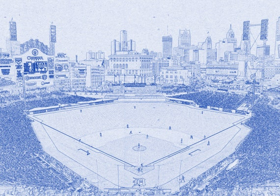 Vintage Detroit Tigers Baseball Stadium Comerica Park Field Print on Photo Paper, Matte Paper or Stretched Canvas
