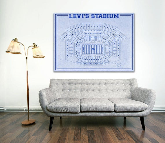 Print of Vintage Levi Stadium Seating Chart Seating Chart on Photo Paper, Matte paper or Canvas