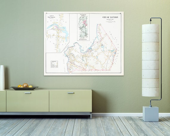 Print of Antique Map of Taunton Massachusetts Easterly Part on Photo Paper, Matte Paper and Stretched Canvas