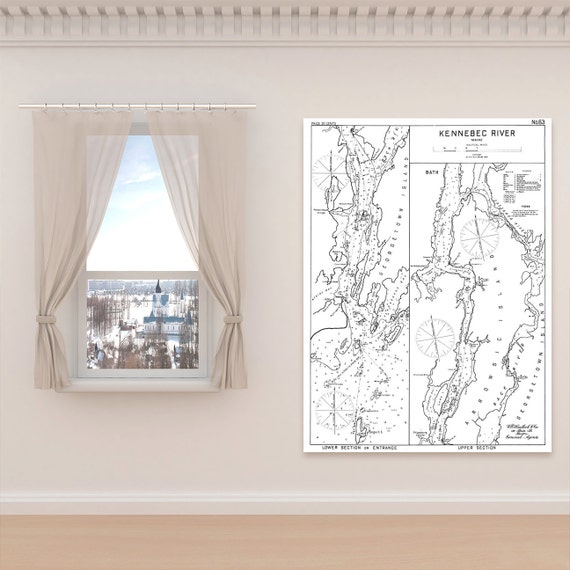 Antique Print of Kennebec River, Maine on your choice of Photo Paper, Matte Paper or Canvas Giclee