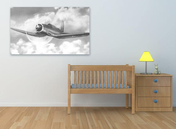 Print of Vintage Airplane on Your Choice of Photo Paper, Matte Paper, or Stretched Canvas