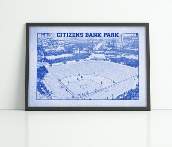 Vintage Print of Citizens Bank Park Photograph Philadelphia Phillies Baseball Blueprint on Photo Paper, Matte Paper or Stretched Canvas
