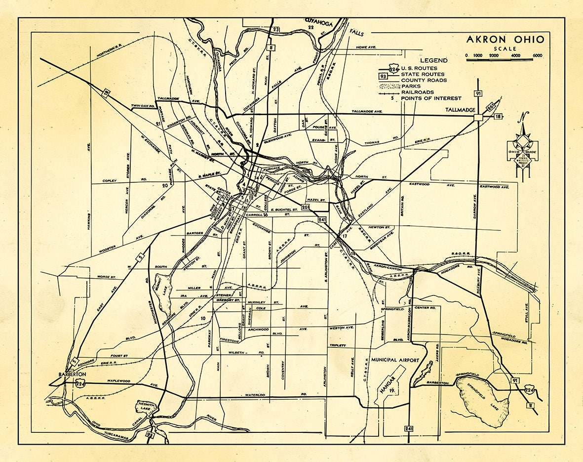Print Of Antique Akron Ohio Map On Photo Paper Matte Paper And