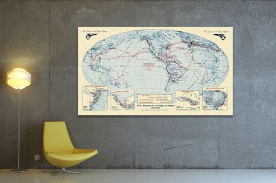 Vintage Print of Pan Am Airways Airlines World Map on Your Choice of Matte Paper, Photo Paper or Stretched Canvas