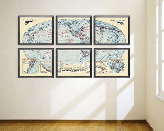 6 and 9 Panel Vintage Print of Pan American World Airways System on Matte Paper, Photo Paper, or Stretched Canvas