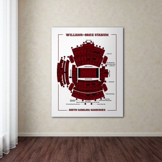 Vintage Style Print of Williams Bryce Stadium Seating Chart on Photo Paper, Matte Paper, or Stretched Canvas