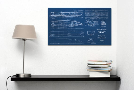 Vintage Motor Boat Blueprint Nautical Sailboat Paper or Canvas VAMOOSE, Gift, ship, wall decore, Nursery, drawing sketch,