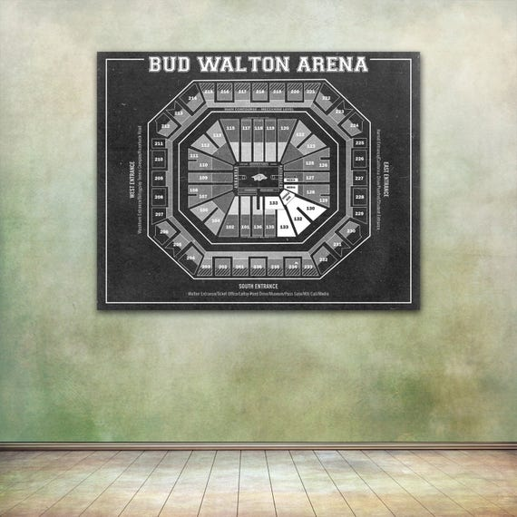 Vintage Print Of Bud Walton Arena Seating Chart On Premium Photo Luster Paper Heavy Matte Paper Or Stretched Canvas Free Shipping