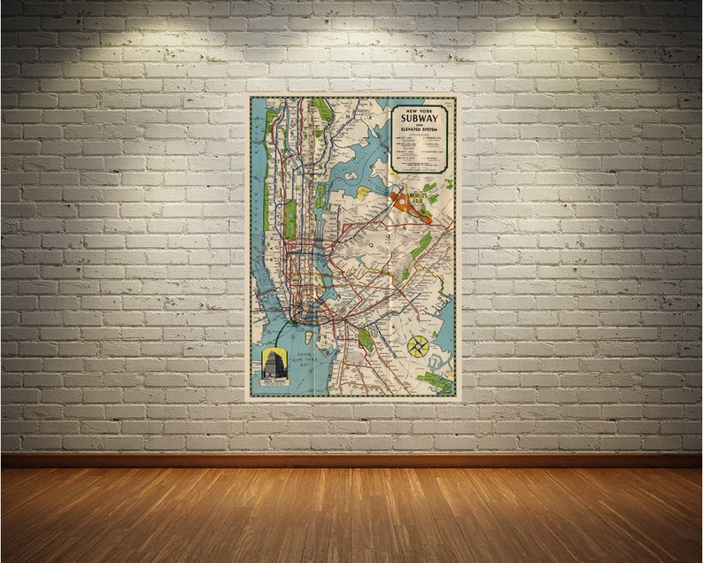 New York City Subway Map Wall Paper.Vintage Style Print Of New York City Subway Map On Premium Luster Photo Paper Heavy Duty Matte Paper Or Stretched Canvas