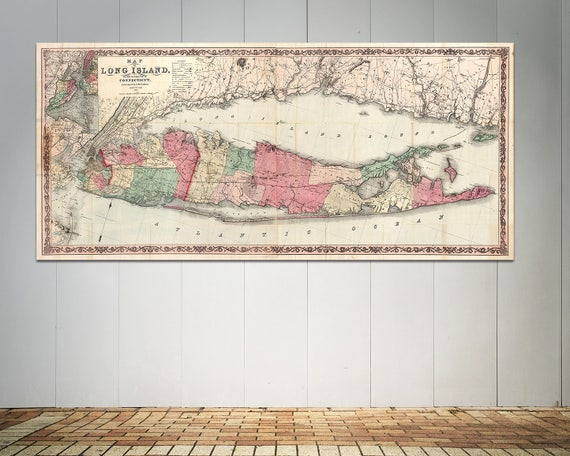 Print of Antique Map of Long Island and the Southern Part of Connecticut on Photo Paper, Matte Paper or Canvas