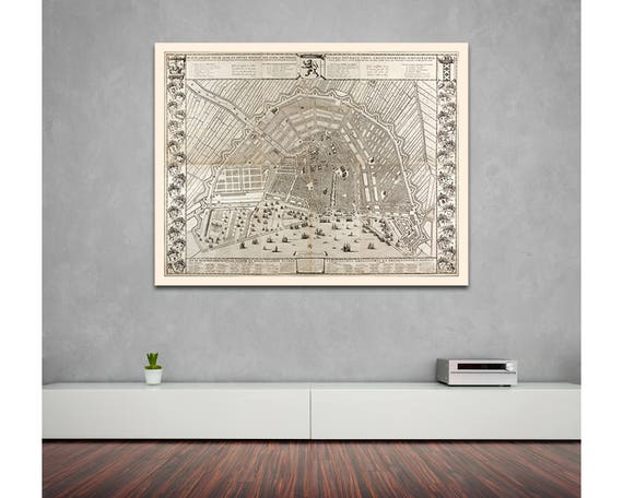 Print of Antique Map of Amsterdam on Photo Paper Matte Paper or Stretched Canvas with Free Shipping