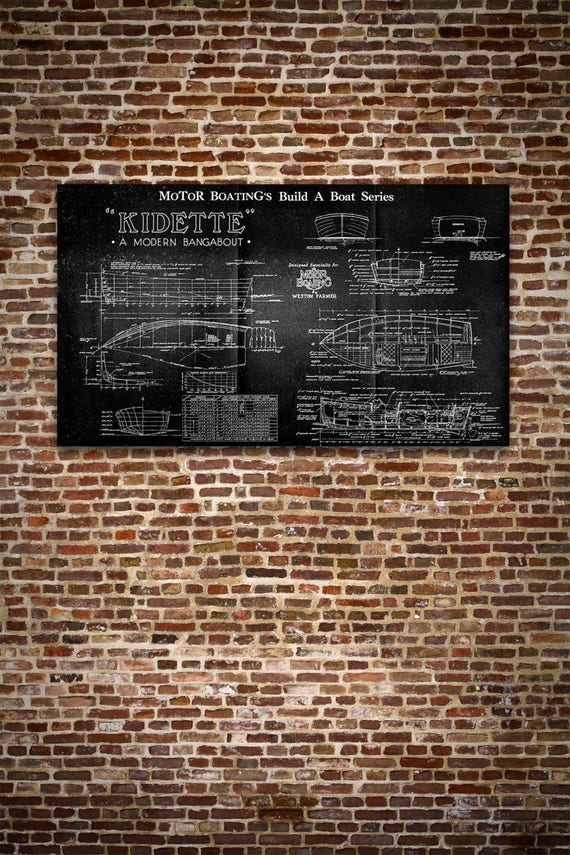 Print of Vintage KIDETTE Boat Blueprint from Motor Boating's Build a Boat Series on Your Choice of Matte Paper, Photo Paper, or Canvas
