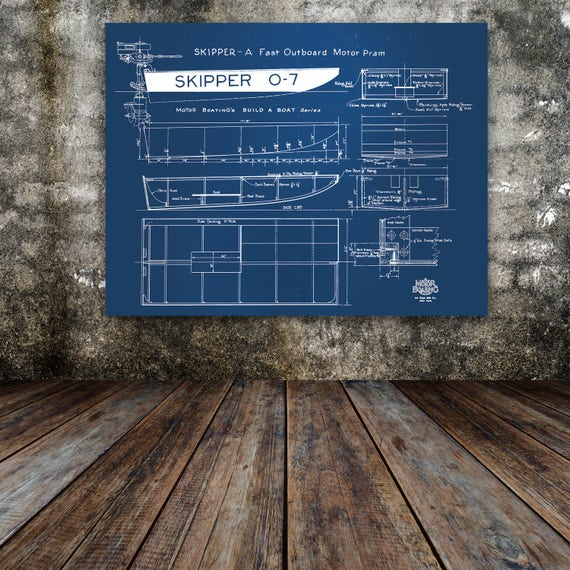 Print of Vintage SKIPPER 0-7 Boat Blueprint from Motor Boating's Build a Boat Series on Your Choice of Matte Paper, Photo Paper, or Canvas