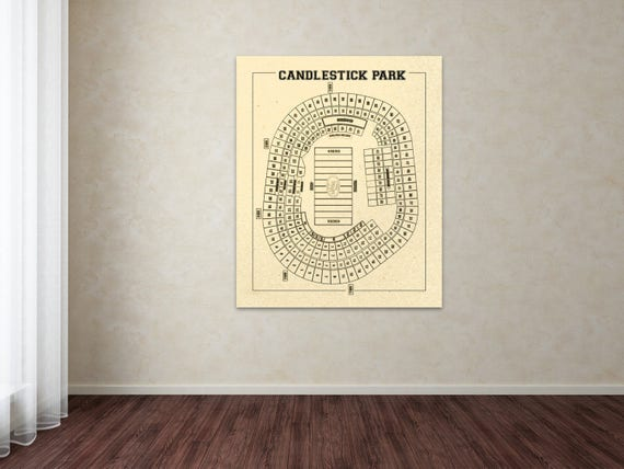 Print of Vintage Candlestick Park Seating Chart Seating Chart on Photo Paper, Matte paper or Canvas