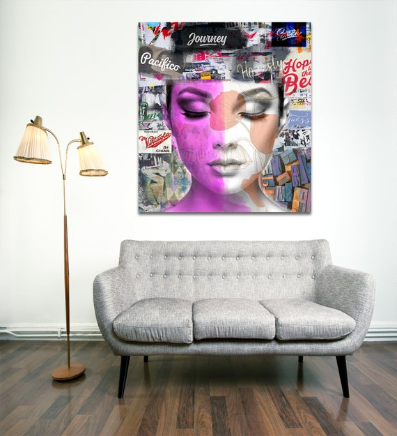 Print of modern abstract collage art with female portrait with text printed on canvas, photo paper or matte paper
