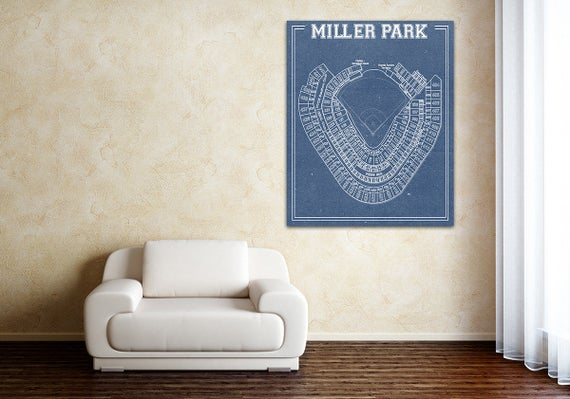 Miller Park Milwaukee Wisconsin Brewers Baseball Seating Chart Paper or Canvas, MLB Vintage,  dad gift, home decor, wall art, sports fan