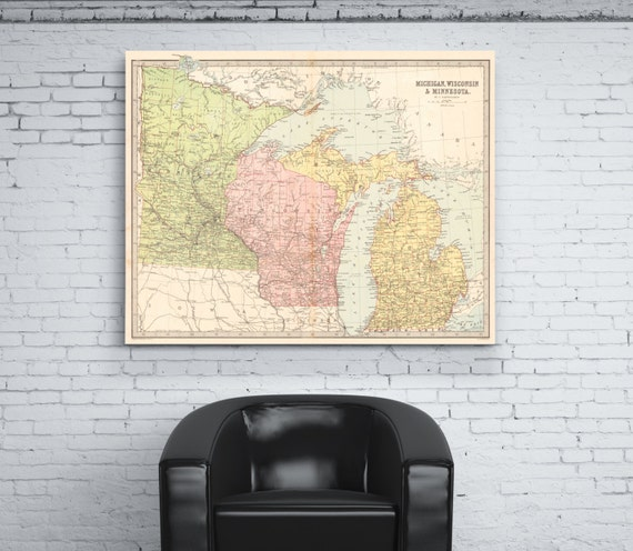 Print of Antique Map of Michigan, Minnesota and Wisconsin on Photo Paper Matte Paper or Stretched Canvas