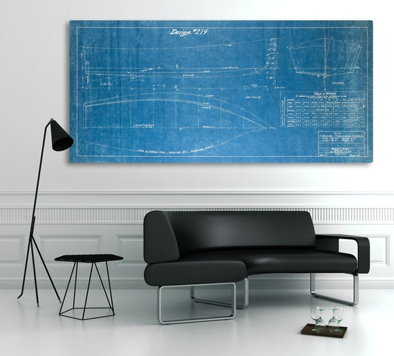 Vintage 1940 V Bottom Fisherman Boat Blueprint Design on CANVAS Rare Nautical Theme Wall Hanging Art Home Decor Ocean Line Drawing