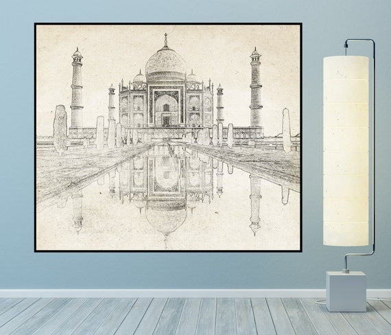 Vintage Style Print of Taj Mahal Line Drawing on Lustre Photo Paper, Heavy Matte Paper, or Stretched Canvas