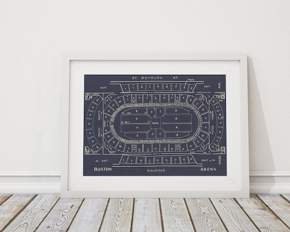 Print of Vintage Boston Arena Seating Chart on Your Choice of Photo Paper, Matte Paper, or Stretched Canvas