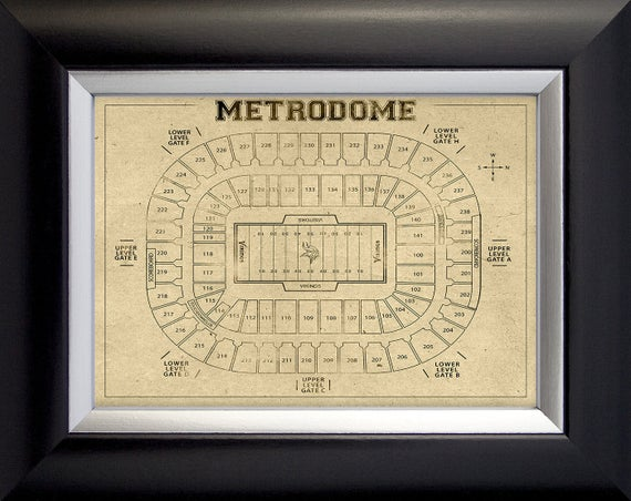 Print of Vintage Metrodome Stadium Seating Chart Seating Chart on Photo Paper, Matte paper or Canvas