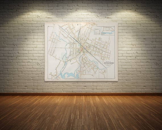 Print of Antique Map of Village of Attleboro  Massachusetts  on Photo Paper, Matte Paper and Stretched Canvas