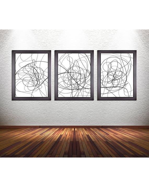 Set of 3 Abstract Line Art Prints on Photo Paper, Canvas, or Matte Paper