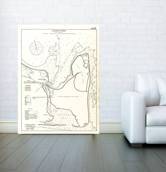 Antique Print of an Edgartown New England Nautical Chart on your choice of Photo Paper, Matte Paper or Canvas Giclee