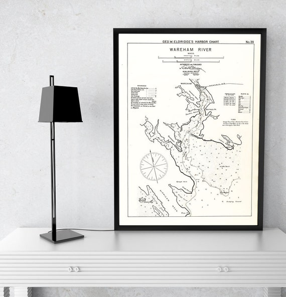 Antique Print of a Wareham River, Massachusetts Nautical Chart. on your choice of Photo Paper, Matte Paper or Canvas Giclee