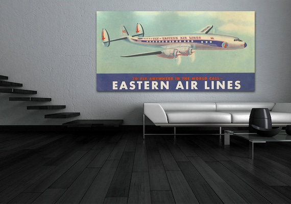 Print of Antique Vintage Eastern Air Lines Airways System on Photo or Matte Paper, or Canvas Airline Chart Travel Globe Plane Art