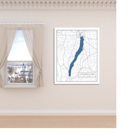 Print of Map of Canandaigua Lake, New York. Printed on Canvas, Matter Paper, or Photo Paper.