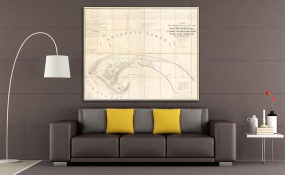 Print of Antique Map of Cape Cod Bay on Matte Paper, Photo Paper, or Stretched Canvas. Free Shipping!
