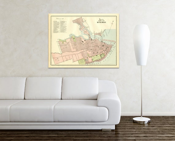 Print of Antique Map of the City of Quebec Canada on Photo Paper, Matte Paper or Stretched Canvas