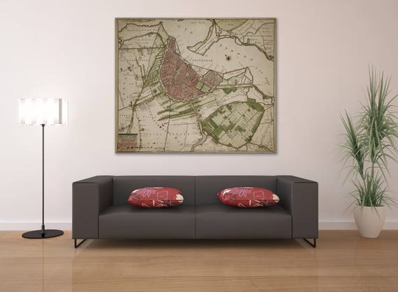 Print of Antique Map of Amsterdam on Photo Paper Matte Paper or Stretched Canvas